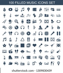 music icons. Trendy 100 music icons. Contain icons such as globe download, microphone, equalizer, favorite music, note, musical instrument. icon for web and mobile.