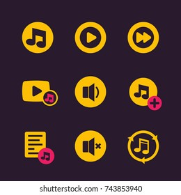 music icons, vector buttons
