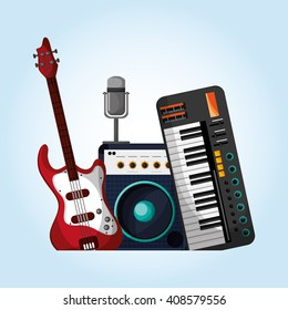 music illustration design, editable vector