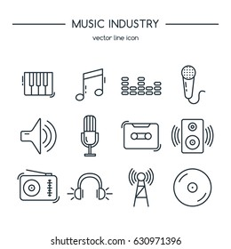Music industry icons line set. Vector illustration.
