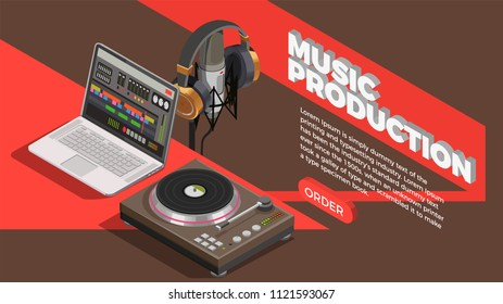 Music industry isometric background with music production symbols vector illustration