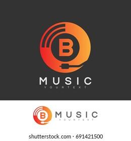music initial Letter B Logo design