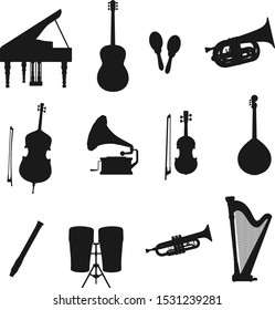 Music instrument black silhouettes of vector drum, guitar and piano, harp, trumpet and viola, flute, maracas and tuba, cello, mandolin and vintage record player. Classic music orchestra equipment