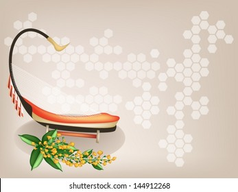 Music Instrument, An Illustration of A Saung and Yellow Color of Padauk Flower or Papilionoideae Flower on Beautiful Vintage Brown Background with Copy Space for Text Decorated