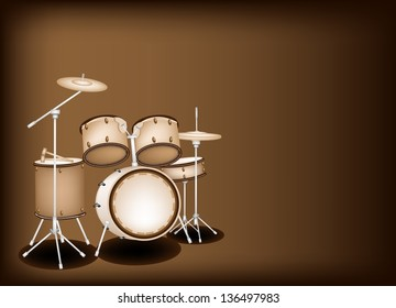 Music Instrument, An Illustration of A Set of Retro Style Jazz Drum Kit on Beautiful Vintage Dark Brown Background with Copy Space for Text