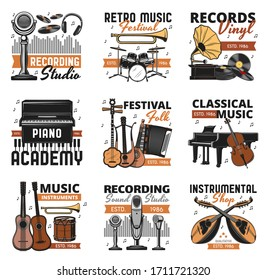 Music instrument sand vinyl records shop, vector icons. Folk and classic orchestra music festival, sound recording studio label, piano play school and instrumental music store signs,