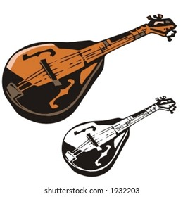 Music Instrument Series. Vector illustration of a mandolin.
