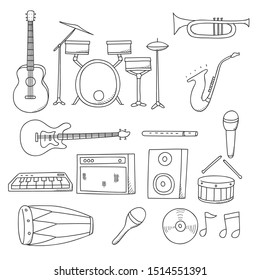 music . music instrument set . instrument music vector with hand draw style.