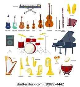 Music Instrument vector illustration set