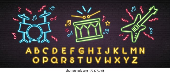 Music Instruments with Alphabet Neon Light Glowing Bright. Drum Set, Guitar, Music Note Sign Symbol Neon and Yellow Alphabet