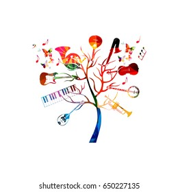 Music instruments background with tree. Colorful guitar, piano keyboard, french horn, saxophone, trumpet, violoncello, banjo, traditional Portuguese guitar and bouzouki