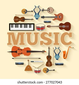 Music instruments circle infographics template concept. Icons design for your product or design, web and mobile applications. Vector flat with long shadow illustration background