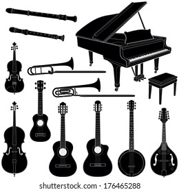 Music instruments collection - vector silhouette illustration