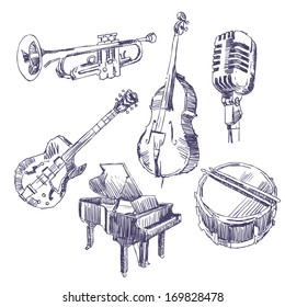 Music instruments drawings set