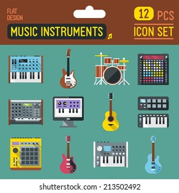 Music instruments flat long shadow icon set. Vector trendy illustrations.