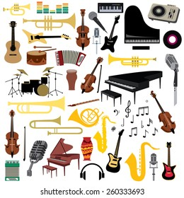 Music Instruments Icons Collection, Piano, Trumpet, Saxophone, Violin And Guitar Etc (vector Art)