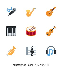 Music instruments icons, music key, keyboard vector illustration emoji symbols set, collection