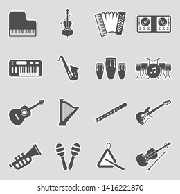 Music Instruments Icons. Sticker Design. Vector Illustration.