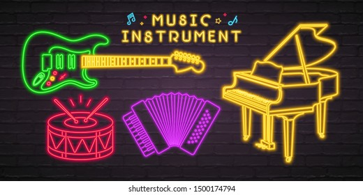 Music Instruments Neon Light Glowing Piano, Accordion, Guitar and Drum Music Instrument Icons. Dark Background Music Elements