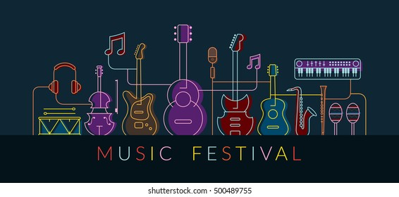 Music Instruments Objects Background, Line Design, Festival, Event, Live, Concert