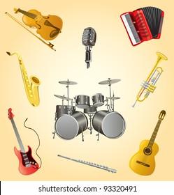 Music instruments set cartoon vector illustration