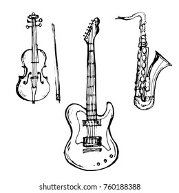 Music instruments set Guitar, Violin, Saxophone outline hand drawn sketch line art isolated on white background stock vector illustration for coloring book page