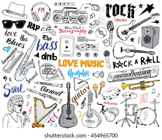 Music Instruments Set. Hand Drawn Sketch, Vector Illustration Isolated