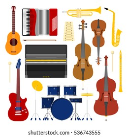 Music Instruments Set Icons Collection with Drum; Violin and Accordion. Vector illustration