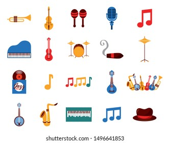music instruments and set icons vector illustration design
