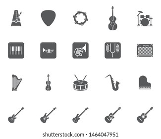Music instruments vector icons set, modern solid symbol collection, filled style pictogram pack. Signs, logo illustration. Set includes icons as metronome, drums, acoustic guitar, violin, cello, harp