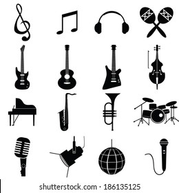 music instruments vector include guitar, cello, piano, drums