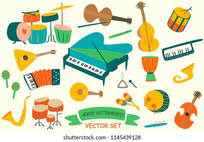 Music instruments in vector set. Cartoon style.