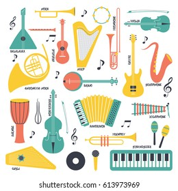 Music instruments - vector silhouette illustration. Isolated icon set.