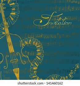 Music invitation or flyer with contrabass and keyboards