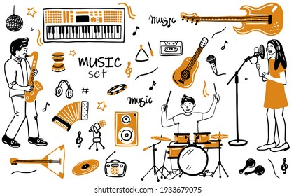 Music items doodle icons set. Hand drawn sketch with notes, instruments, microphone, guitar, headphone, drums, music player and music styles lettering signs, vector illustration, isolated