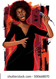 Music Jazz - afro american jazz singer on grunge background - vector illustration