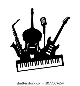 Music jazz band icon. Group of black musical instruments electric guitar piano keyboard double bass saxophone microphone isolated on white background. Vector illustration for concert festival party