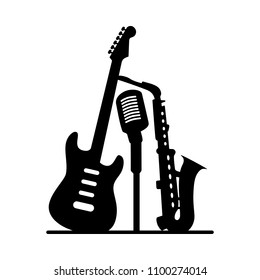 Music jazz band icon. Group of black musical instruments electric guitar saxophone microphone isolated on white background. Vector audio art logo illustration for concert festival party poster club