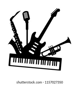 Music jazz blues band icon. Group of black musical instruments guitar piano saxophone trumpet microphone isolated on white background. Vector simple logo illustration for concert festival studio club