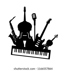 Music jazz blues band icon. Group of black musical instruments guitar piano saxophone bass violin microphone isolated on white background. Vector simple logo illustration for concert festival studio