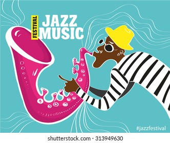 music jazz poster. Vector illustration of a Jazz poster with saxophonist