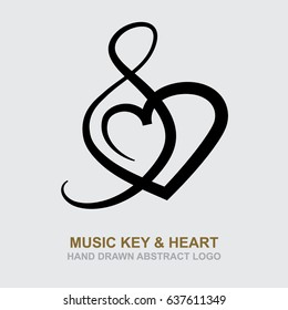 Music key and heart. Music theme logo and icon design template.
