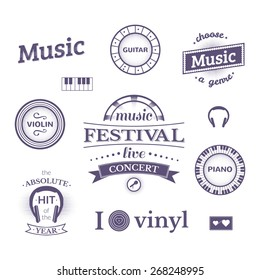 Music labels and logos illustrations, vector typography set
