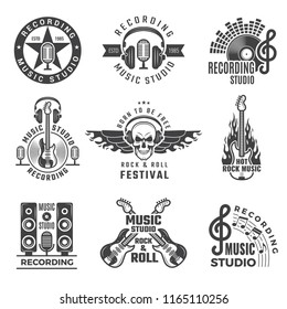 Music labels. Microphone big speaker drums and headphones vector pictures and logos for music records studio. Vector record music, audio microphone and musical speaker illustration