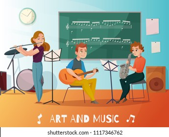 Music lesson in school, students playing saxophone, guitar and flute, chalk board  with notes cartoon vector illustration