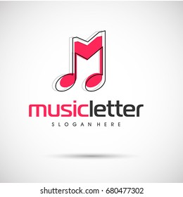 Music Letter logo template. Letter M. Vector Illustration eps.10