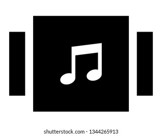 Music library icon. Vector icon of music album collection