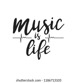Music is life. Vector hand drawn illustration. Happy world music day
