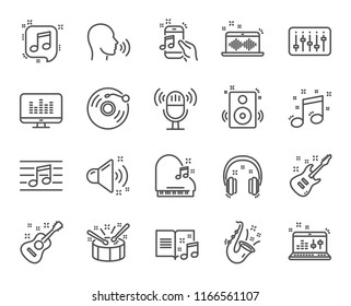 Music line icons. Set of Acoustic guitar, Musical note and Vinyl record linear icons. Jazz saxophone, Drums with drumsticks and DJ controller symbols. Sound check and Music making. Vector