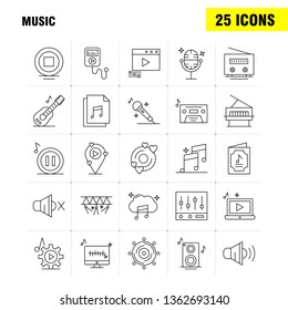 Music Line Icons Set For Infographics, Mobile UX\u002FUI Kit And Print Design. Include: Music, Play, File, Data, Music, Play, Setting, Gear, Icon Set - Vector